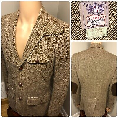 VTG Polo Ralph Lauren Blazer Jacket Linen Silk Blend Leather Suit 38R Rugby