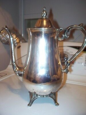 Vintage Silver Plated Footed Tea/coffee Pot  Ornate Handle