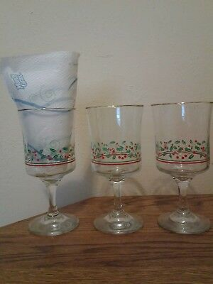 3 Vintage ARBY'S Christmas Gold Rim Holly Berry Stem Wine Water Goblet Glasses