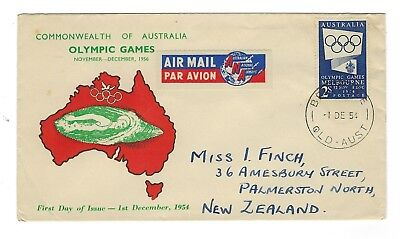 AUSTRALIA 1954 2s BLUE OLYMPICS  ON QUEENSLAND STAMP MART FDC