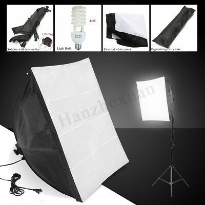 Photo Studio Photography Light Kit Softbox Stand Continuous Lighting E27 Lamp US