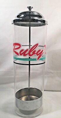 Ruby's Diner Straw Holder Canister Container - Collectible Plastic and Aluminum