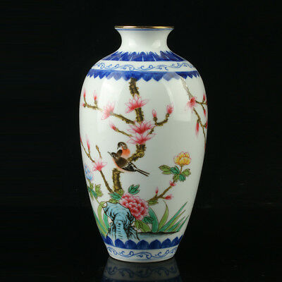 Chinese Porcelain Hand-Painted Flower Vase Mark As The Qianlong Period  R1007+a