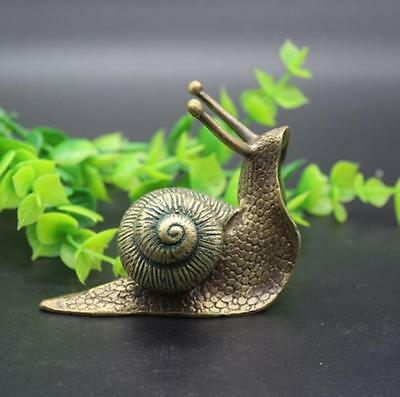 Chinese Hand Carved Pastoral Style Copper Brass Bronze Animal Snail Small Statue
