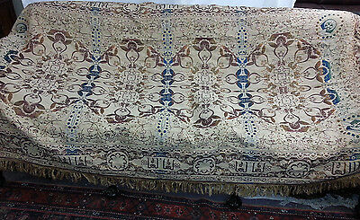 Tapestry Silk Embroidered Piano Shawl Elegant Antique King bed cover EUC