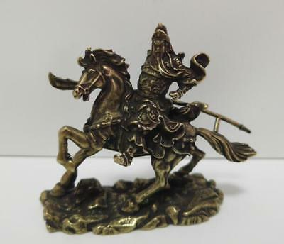 Chinese Nongovernmental Pure Brass Riding Horse Guan Gong Small Statue