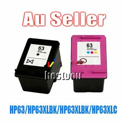 2 Ink for HP 63XL B+C Deskjet 2130 2131 3630 3632 ENVY 4520 Officejet 3830 CN