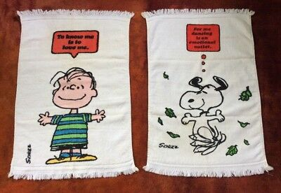 2 Vintage Peanuts Snoopy Dancing & Linus Love Towels w/ Fringe Hand Towel Clean