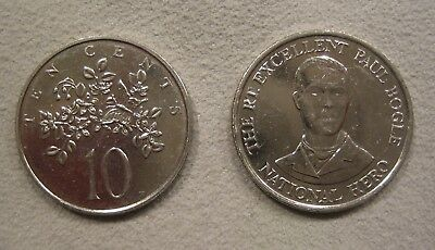 Jamican pair of 10 cent coins 1990 and 1991,  Nickel/steel. coat of arms