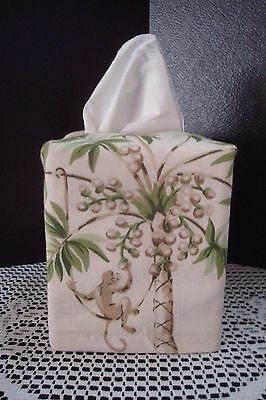 Tropical Palm Coconut Tree w/ Monkey Tissue Box Cover Bed Bath Vanity Desk Car