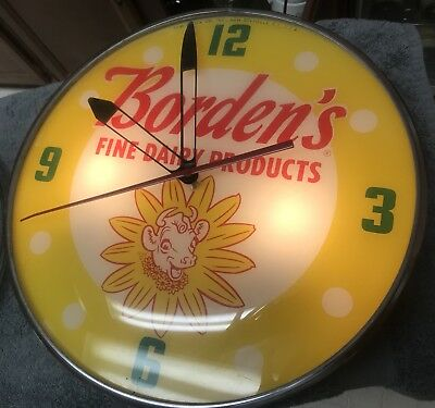 RARE Vintage Original Pam Lighted BORDEN'S FINE DAIRY PRODUCTS Clock EXCELLENT!!