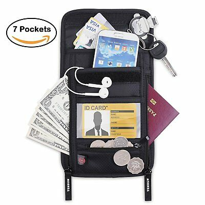 Tensun Neck Pouch Wallet, Passport Holder Stash w/RFID Blocking Security Travel