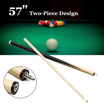 57'' Pool Snooker Billiard Cue 2-Piece 1/2 Eco Jointed Stick For Game Sport