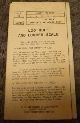 US Forest Service 1950's Log Rule & Lumber Scale handy tool