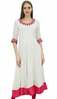 d35c52b759c Bimba Women s White Embroidered Anarkali Georgette Indian Ethnic Clothing