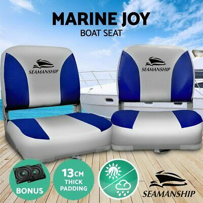 2x Boat Seat Set Rotatable Folding All Weather Marine Padded Seating Chair Seats