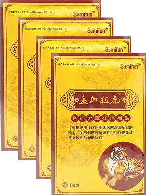 4 Pks of 8 Patches Sumifun Deep Heat Pain Relief Tiger Balm Patch Chinese Balm