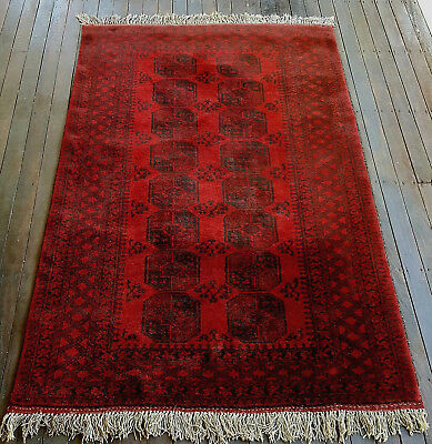Vintage Turkish Bokhara Hand Knotted Rug Carpet 7' x 5' Elephant Footprint Motif