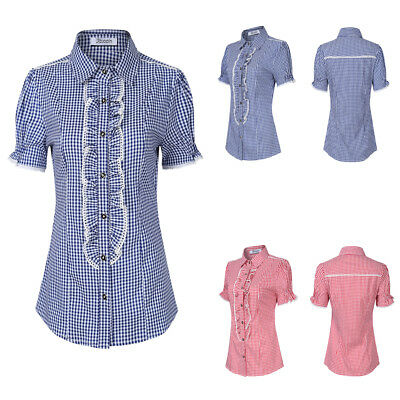 Women's Plaid Checks Button Down Casual Long Sleeve Lapel Shirt Tops Blouse USA