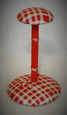 Original French Art Deco Hat Stand Covered In Red And White Checkered Silk
