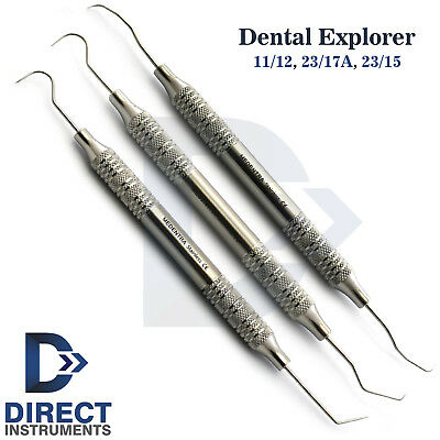Set Of 3 Dental Explorer 23/17A-23/15-11/12 Periodontal Probes Diagnostic Tools