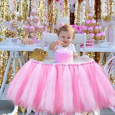 Baby 1st Birthday High Chair Tutu Skirt Tulle Table Skirt Party Chair Decoration