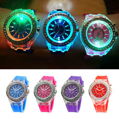 Kids Girls Sport LED Crystal Silicone Backlight Watch Rubber Bracelet Wristwatch