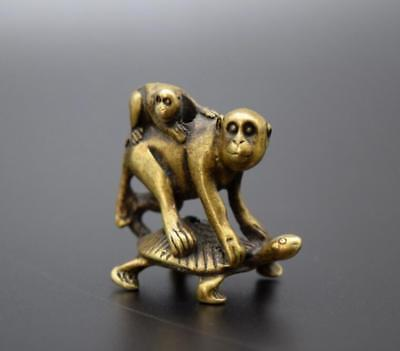 Chinese Pastoral Style Pure Copper Brass Bronze Turtle Back Monkey Small Statue