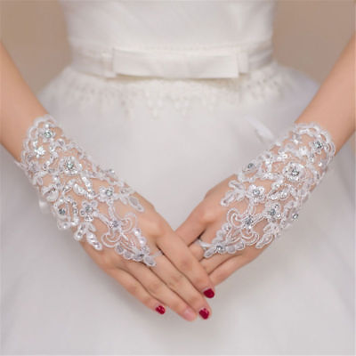 Stylish Party Fingerless Lace Paragraph Rhinestone Bridal Wedding Gloves