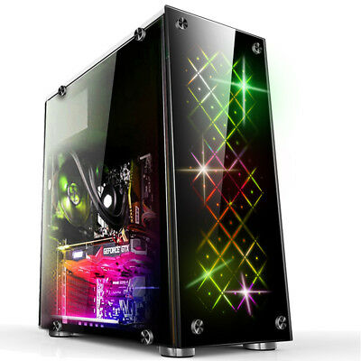 Atx Gaming Computer Pc Case Mid Tower Usb 3 0 With 3 Rgb 120mm