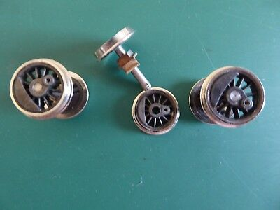 """Metal O Scale Spoked Wheels With Brass Axle Blocks (2'6"""") Or Ho Scale 53"""" - New"""