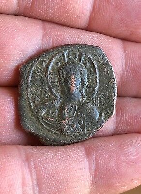 Byzantine Bronze Anonymous Follis:christ/greek Inscription.large Flan Nice Item!