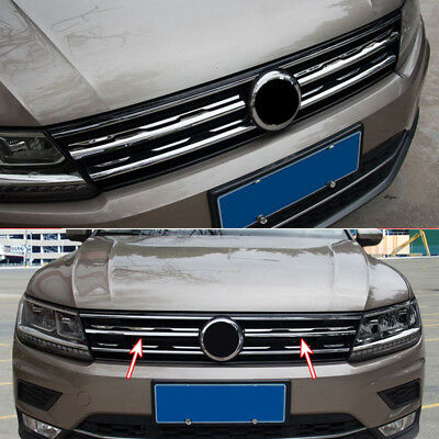 Front Mesh Grill Refit Cover Trim For VW Tiguan Mk2 2017 2018 Chrome Sticker