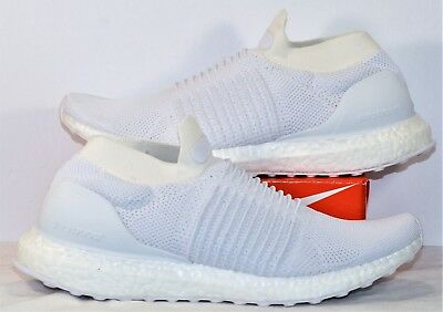 60cc19038aeda Adidas Ultra Boost Laceless Triple White Running Shoes Sz 8.5 NEW S80768