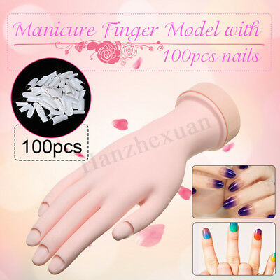 Practice Nail Art Training Hand Model Trainer Gel False Tip Tool  + 100 Nails