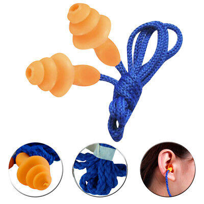 20Pcs Soft Silicone Corded Ear Plugs Reusable Hearing Protection Earplugs Safety