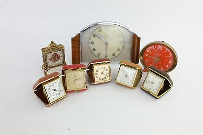 Lot of 8 x Vintage HAND-Wind Clocks Mixed Inc.Travel, Mantle&Alarm WORKING