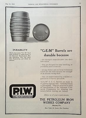 1919 Ad(G11)~The Petroleum Iron Works Co. Sharon, Pa. Steel Barrels