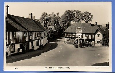 Old Vintage Rp Postcard The Square Ightham Kent Pub Inn Cars