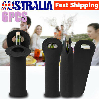 6Pcs Single Wine Bottle Holder Single Neoprene Beer Can Cooler Bag Carrier Black