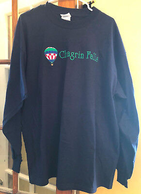 Chagrin Falls T-Shirt Mens XL Hot Air Balloon Ohio Long Sleeve Navy Blue