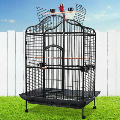 iPet Medium Large Bird Cage Pet Parrot Aviary Open Perch Roof Budgie on Wheel