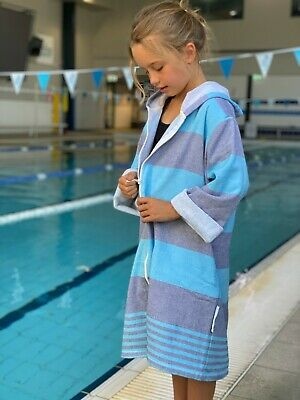 Turkish hooded towel robe Back Beach Co Navy/Turquoise
