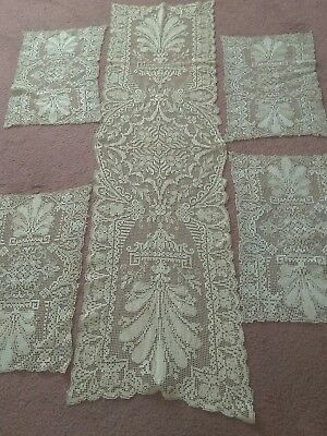 Antique Needle Bobbin Lace Buffet Scarf Doily Table Topper + Matching Placemats