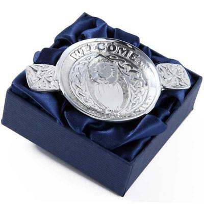 "Mini Traditional Scottish Pewter Toasting Quaich "" Welcome Beloved Child """