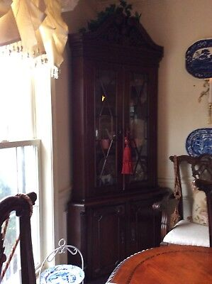Chippendale Mahogany Dining Table/ 8 chairs and Corner China cabinet