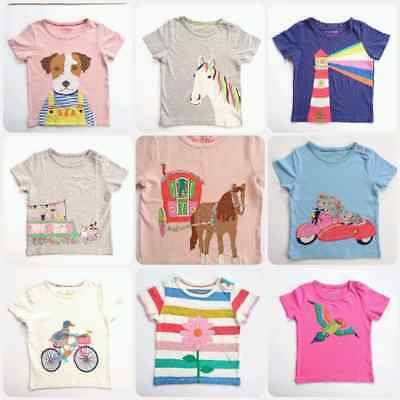 Ex-Mini Boden Girls Cute Applique Short Sleeved Top T-Shirt  Ages 2-14