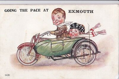 Novelty Comic Postcard - Motor-bike & Sidecar - Exmouth, Devon - posted in 1926.