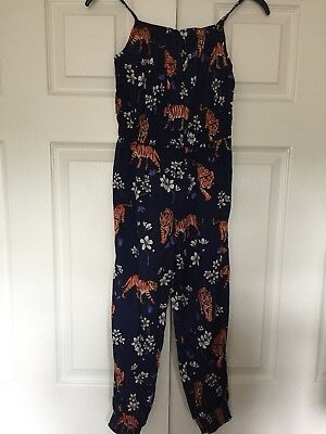 Girls Age 8 Tiger Pattern Navy Jumpsuit Excellent Condition