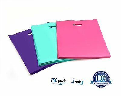 150 Small 9 x 12 Plastic Merchandise Shopping Bags Thick 2 Mils Pink Purple Teal